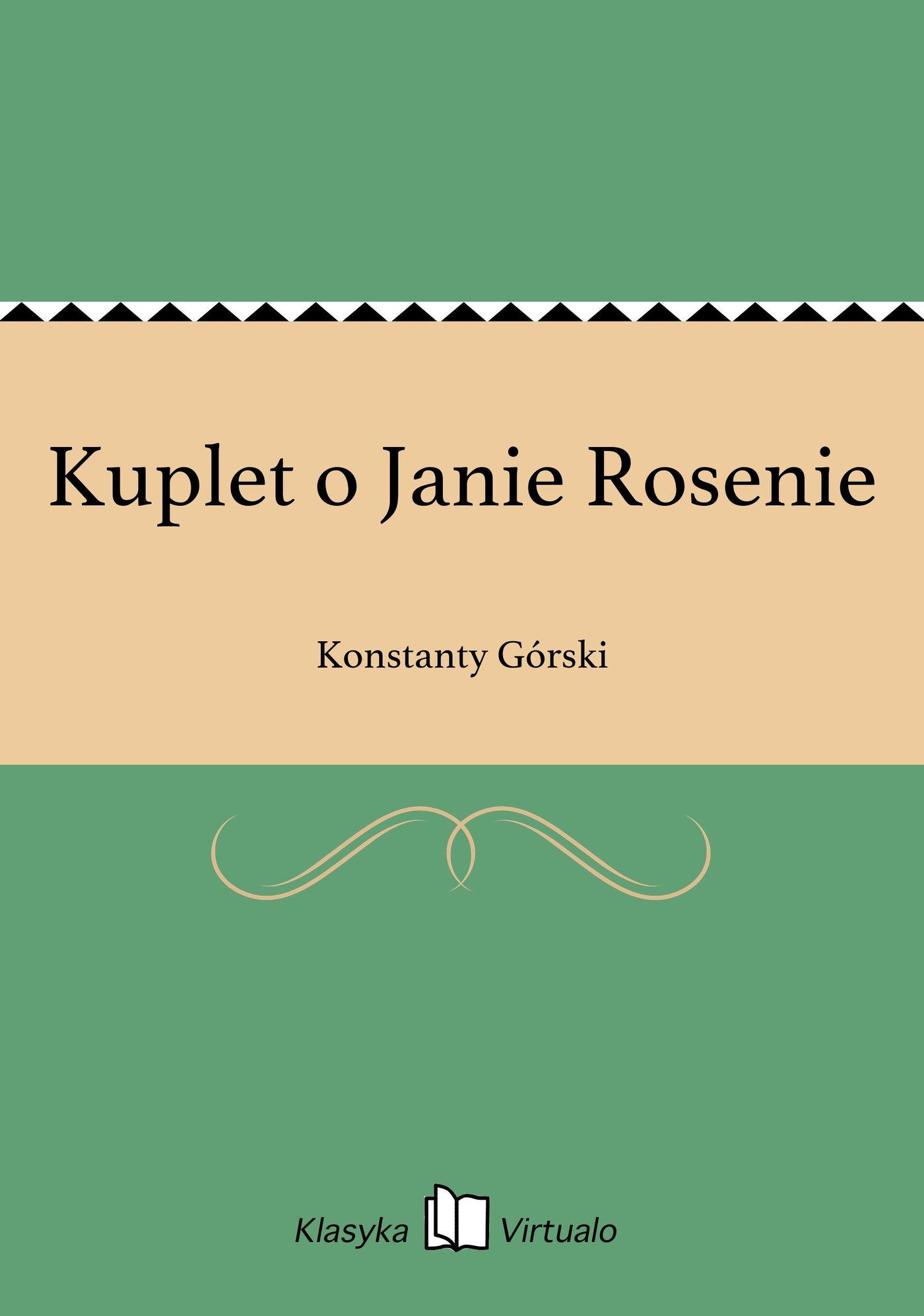 Kuplet o Janie Rosenie - Ebook (Książka EPUB) do pobrania w formacie EPUB