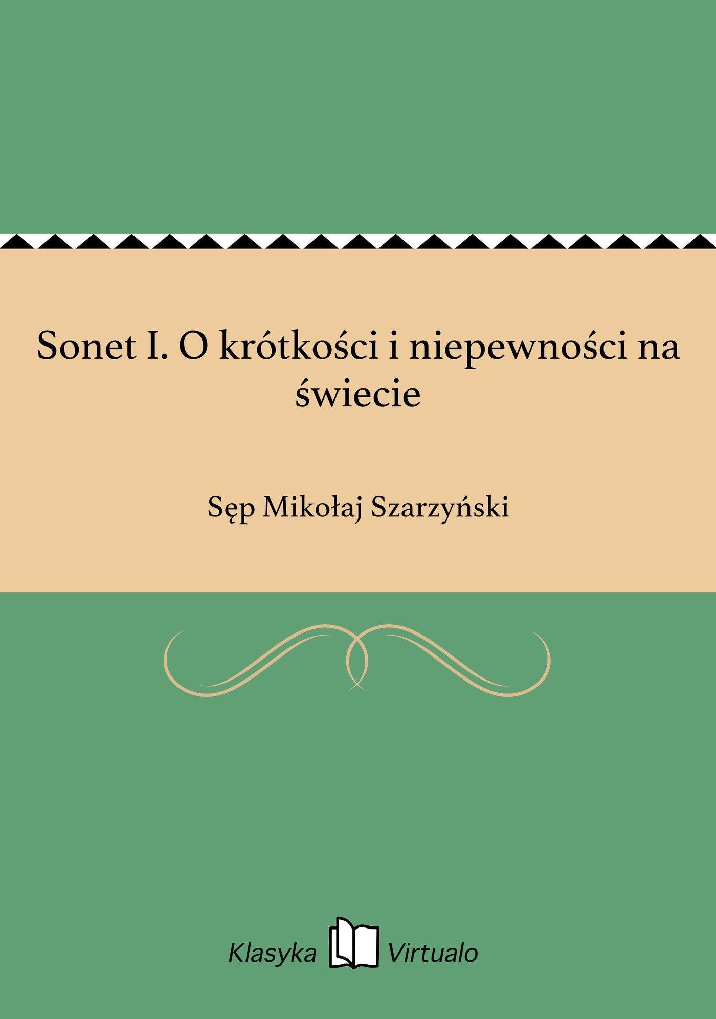 Sonet I. O krótkości i niepewności na świecie - Ebook (Książka EPUB) do pobrania w formacie EPUB