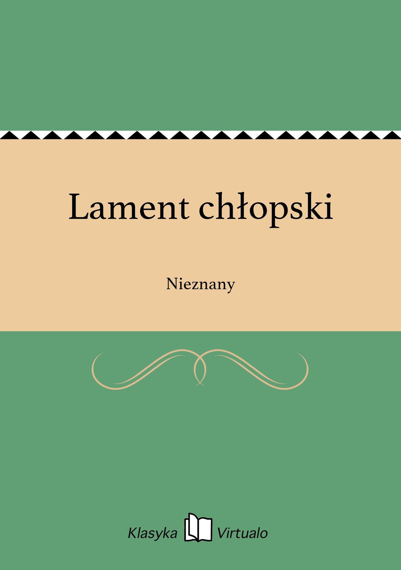 Lament chłopski - Ebook (Książka EPUB) do pobrania w formacie EPUB