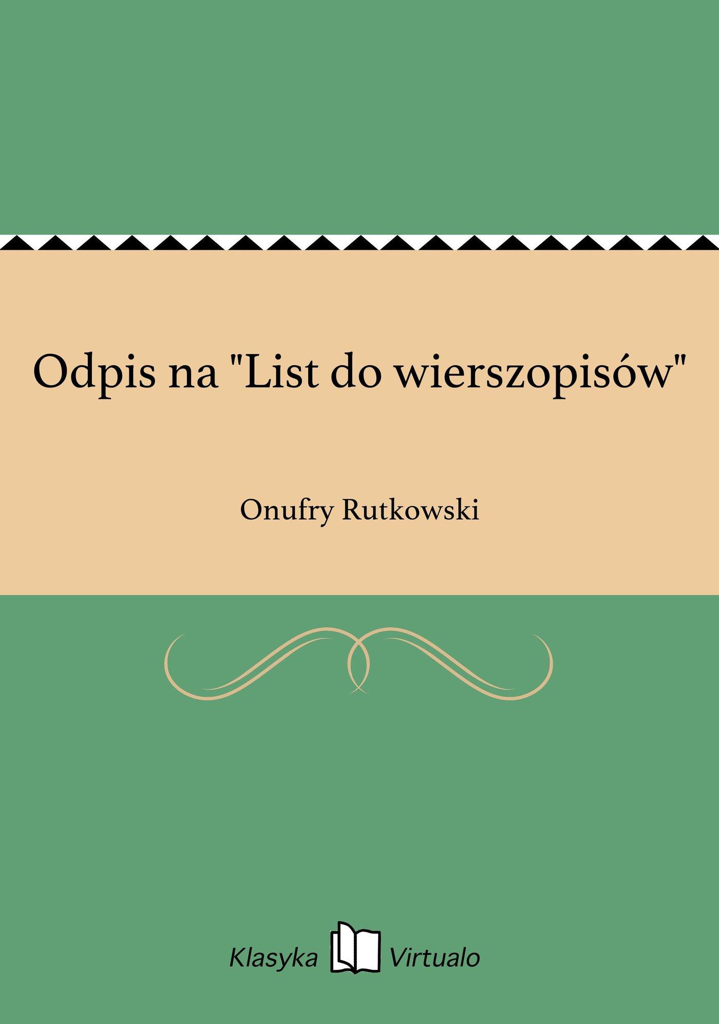 """Odpis na """"List do wierszopisów"""" - Ebook (Książka EPUB) do pobrania w formacie EPUB"""
