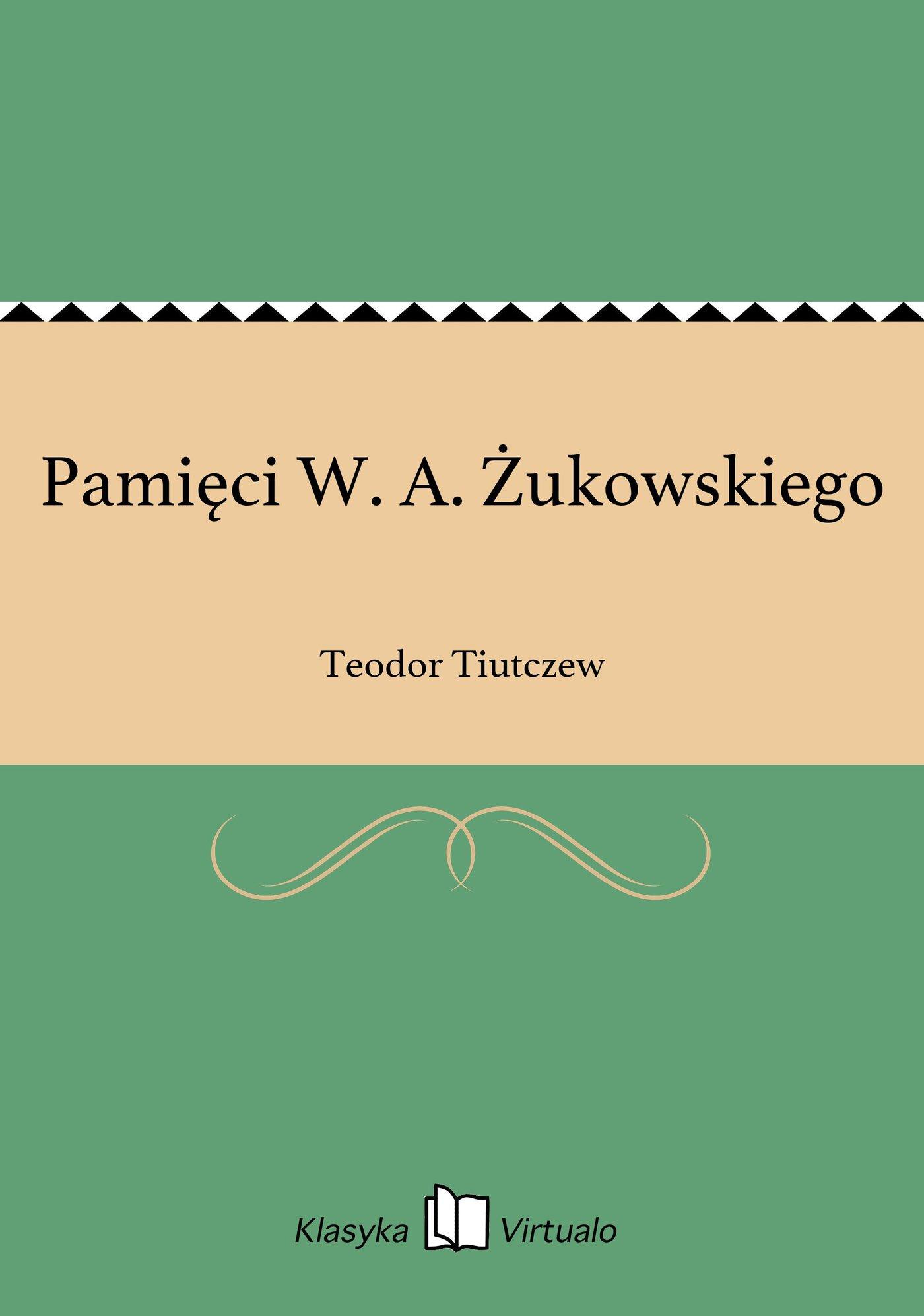 Pamięci W. A. Żukowskiego - Ebook (Książka EPUB) do pobrania w formacie EPUB