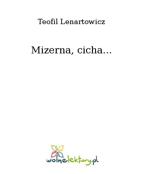 Mizerna, cicha... - Ebook (Książka EPUB) do pobrania w formacie EPUB