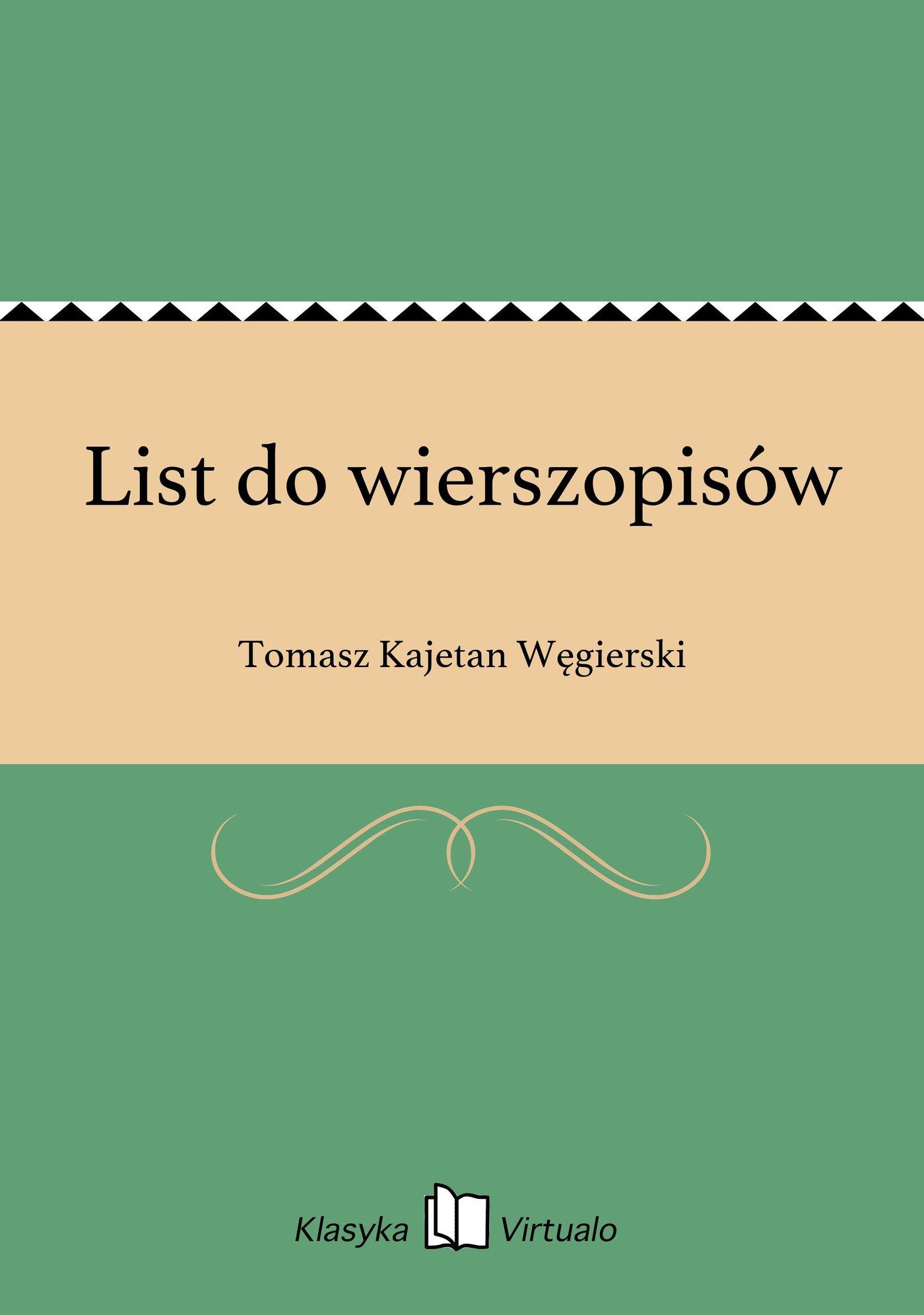 List do wierszopisów - Ebook (Książka EPUB) do pobrania w formacie EPUB