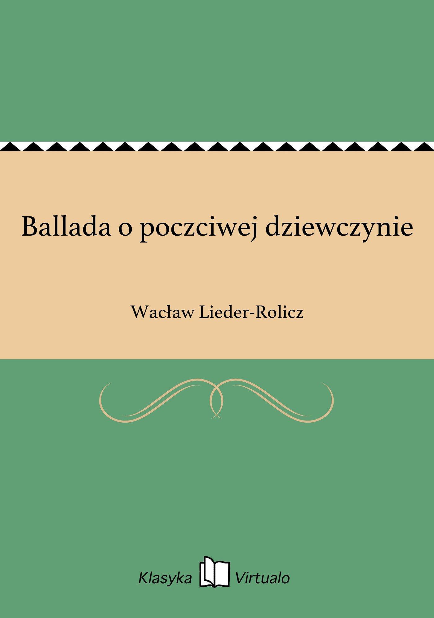 Ballada o poczciwej dziewczynie - Ebook (Książka EPUB) do pobrania w formacie EPUB