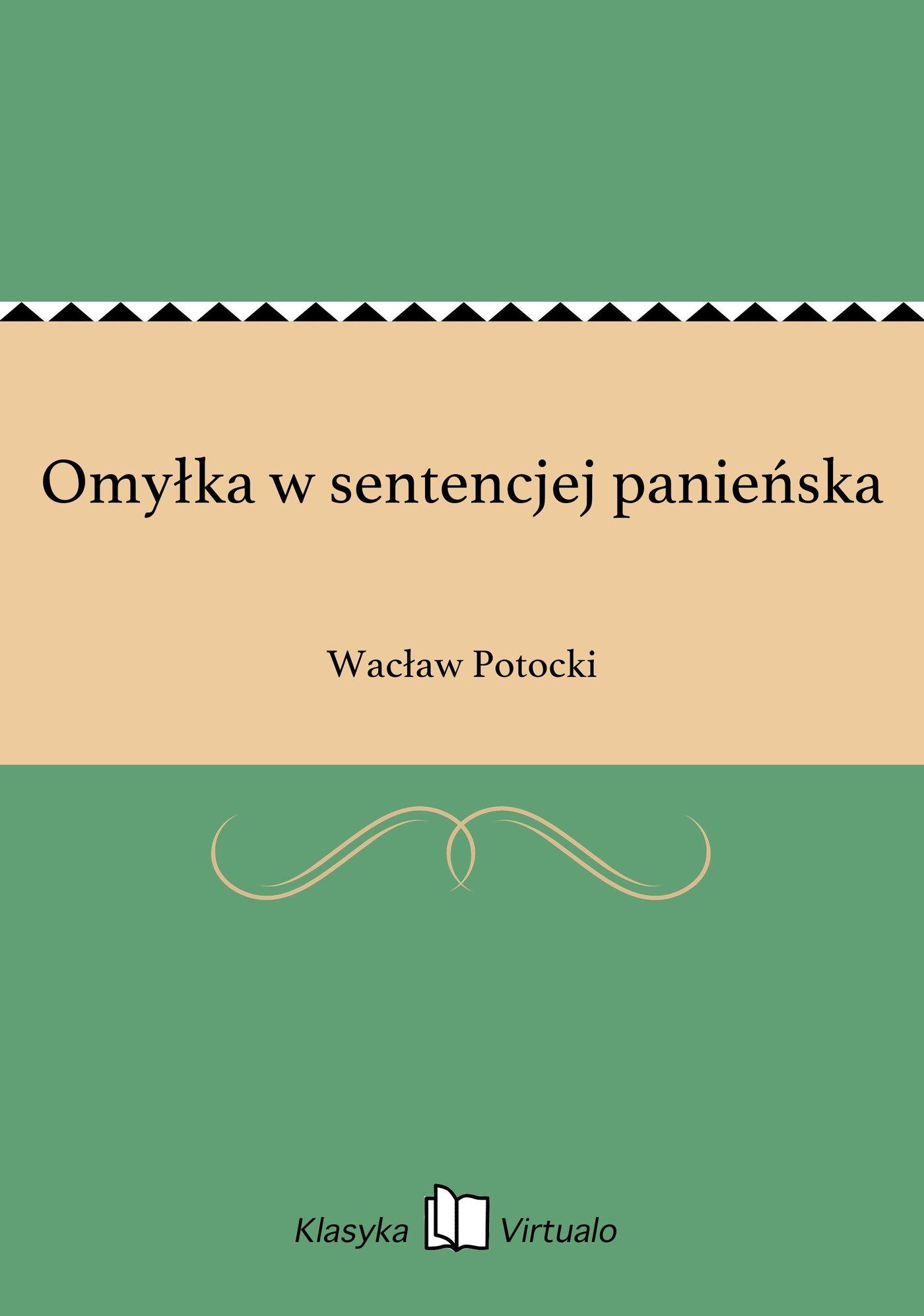 Omyłka w sentencjej panieńska - Ebook (Książka EPUB) do pobrania w formacie EPUB