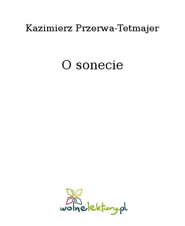 O sonecie - Ebook (Książka EPUB) do pobrania w formacie EPUB