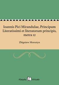 Ioannis Pici Mirandulae, Principum Literatissimi et literatorum principis, metra 12 - Zbigniew Morsztyn - ebook
