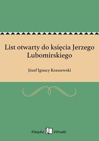 List otwarty do księcia Jerzego Lubomirskiego