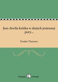 Jest chwila krótka w dniach jesiennej pory... - Teodor Tiutczew - ebook