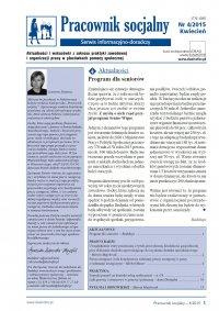 Pracownik socjalny. Aktualności i wskazówki z zakresu praktyki zawodowej i organizacji pracy w placówkach pomocy społecznej. Nr 4/2015