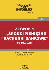 """Zespół 1– """"Środki pieniężne i rachunki bankowe"""" po zmianach - Izabela Motowilczuk - ebook"""