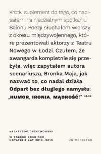 W trzech zdaniach. Zapiski z lat 2018/2019 - Krzysztof Orzechowski - ebook