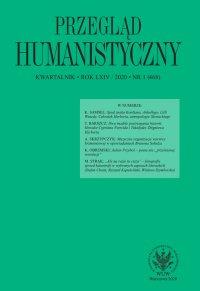 Przegląd Humanistyczny 2020/1 (468) - Tomasz Wójcik - eprasa