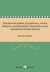 Narodowość polska, jej podstawy, rozwój dziejowy, przeobrażenia i zboczenia a oraz stosunek do chwili obecnej - Henryk Schmitt - ebook