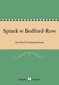 Spisek w Bedford-Row - Jan Paweł Ferdynand Lam - ebook