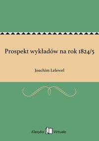 Prospekt wykładów na rok 1824/5