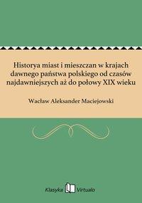 Historya miast i mieszczan w krajach dawnego państwa polskiego od czasów najdawniejszych aż do połowy XIX wieku