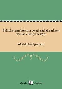 """Polityka samobójstwa: uwagi nad pisemkiem """"Polska i Rossya w 1872"""""""